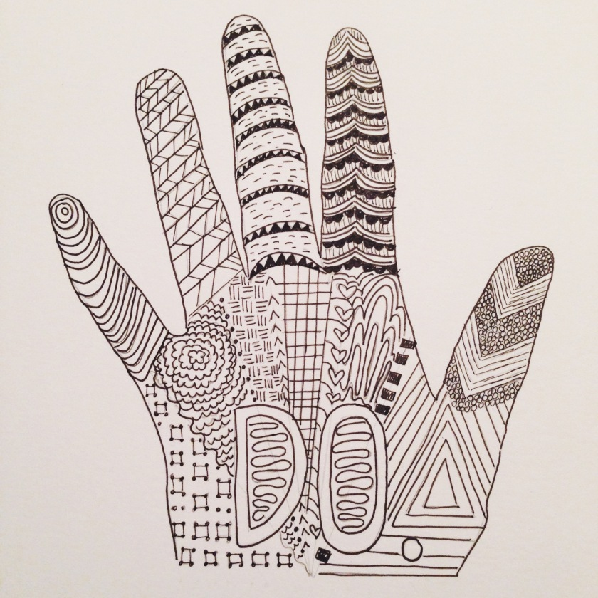 The first thing we're working on is Zentangling, which is soothing in itself. Here's my Zentangle, where I incorporated a whole bunch of different patterns in one shape.