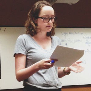 Photo of me getting said presentation, courtesy of my friend Sarah, who is a great source of moral support.