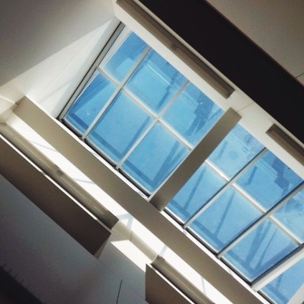 On the third floor of the University Library, there's this section of desks right below a skylight. It is my favorite place in the library.