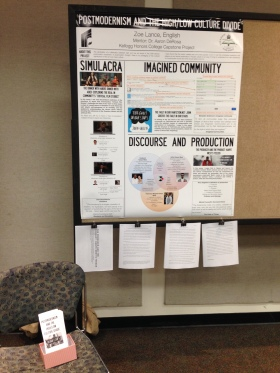 I had copies of my SCCUR presentation and all three papers hanging below the poster, with the box of pamphlets on the chair. I am very proud of myself.