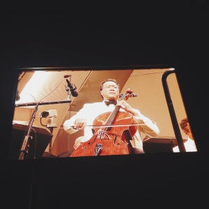 If you're not lucky enough to be sitting in one of the boxes, you can see the musicians on the screens around the venue. Here's Yo-Yo Ma.
